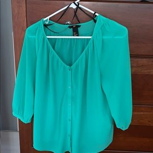 H&M turquoise blouse size 4